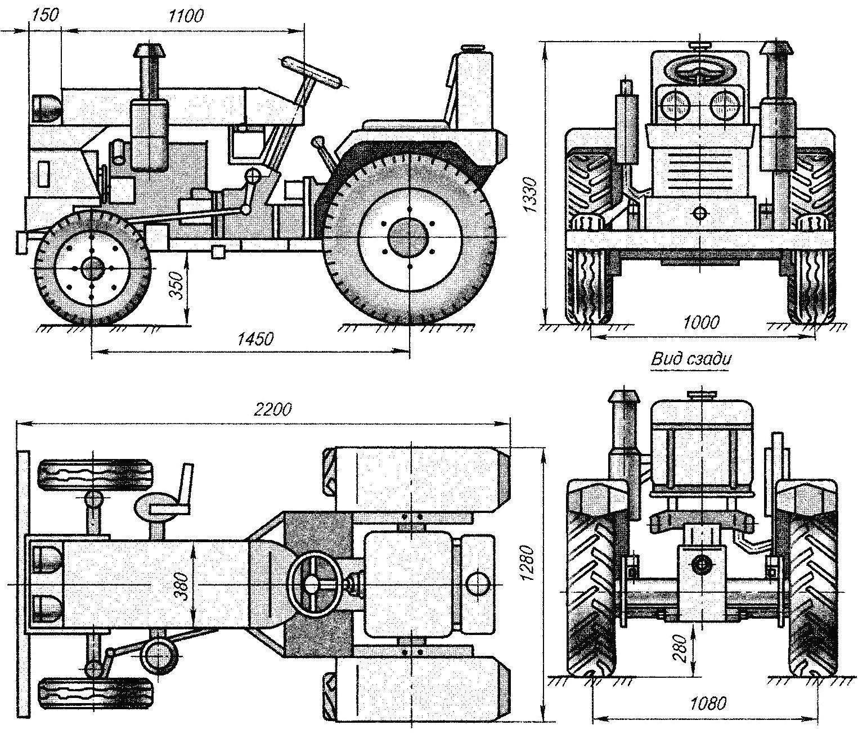 Геометрическая схема мини-трактора