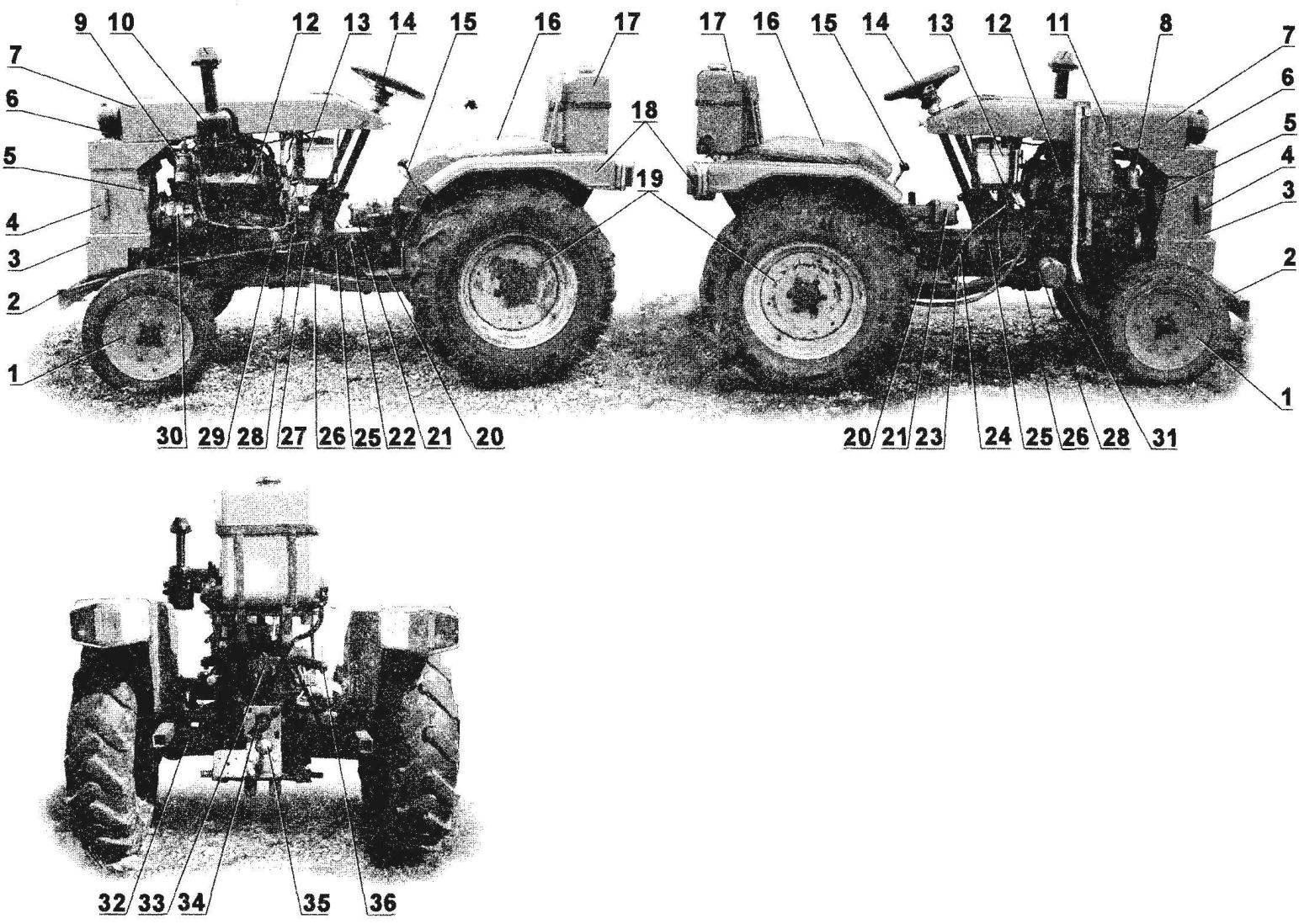 Компоновка мини-трактора (неуказанные позиции — штатные)