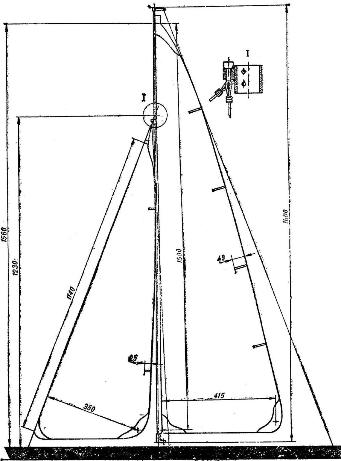 Рис. 1. Схема обмера парусов и узел крепления вант и стаксель-штага на мачте.
