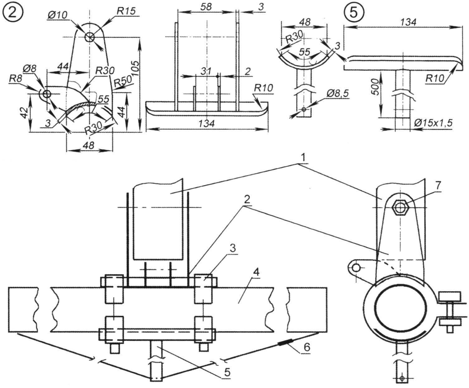 Подмачтовый узел, степс (сварные варианты) и схема стыковки мачты и бимса