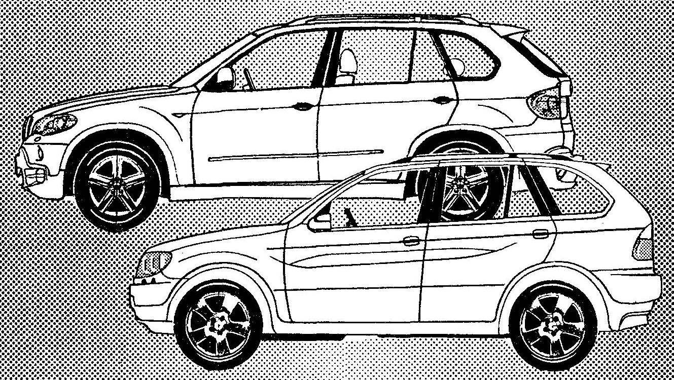 BMW Х5 выпуска 2006 года (вверху) и его предшественник — BMW Х5 выпуска 1999 года (внизу)