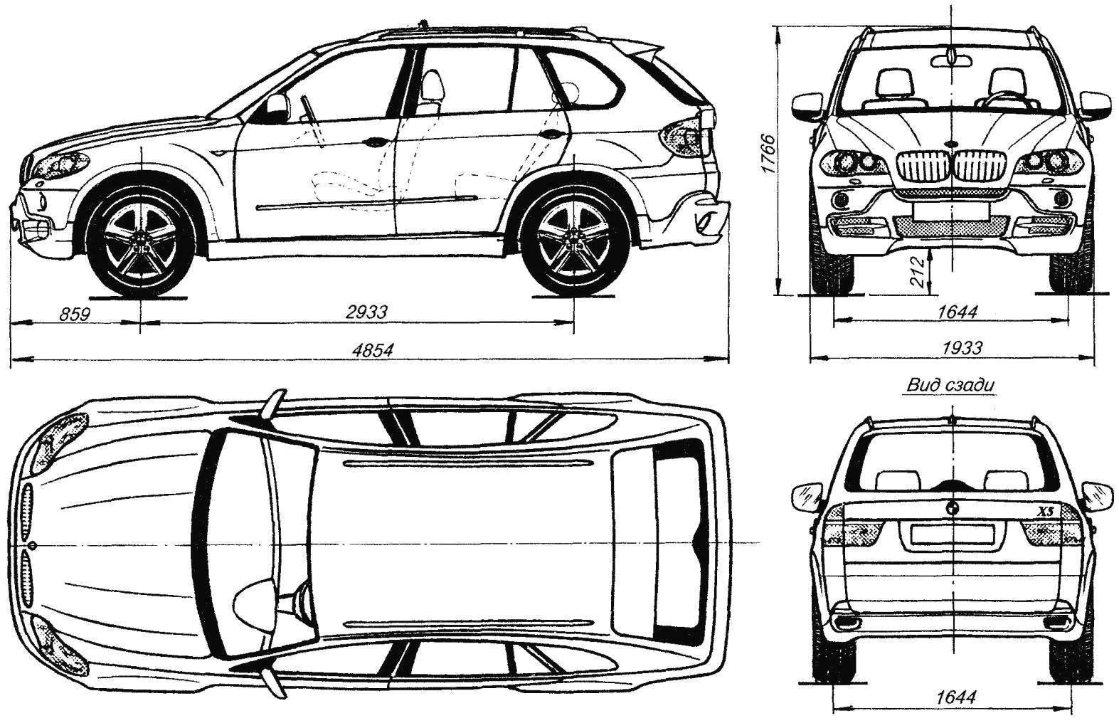 Geometry all-wheel drive car BMW X5 2006 model