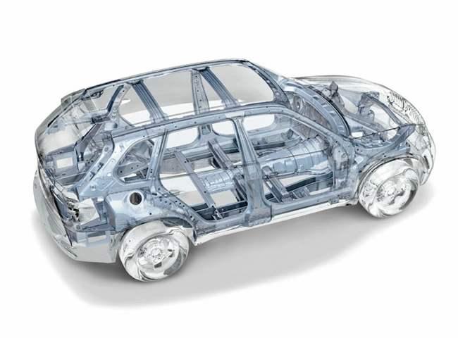 Конструкция кузова BMW Х5. Главный его параметр — статическая жесткость на кручение — составляет 27 000 Нм/град.
