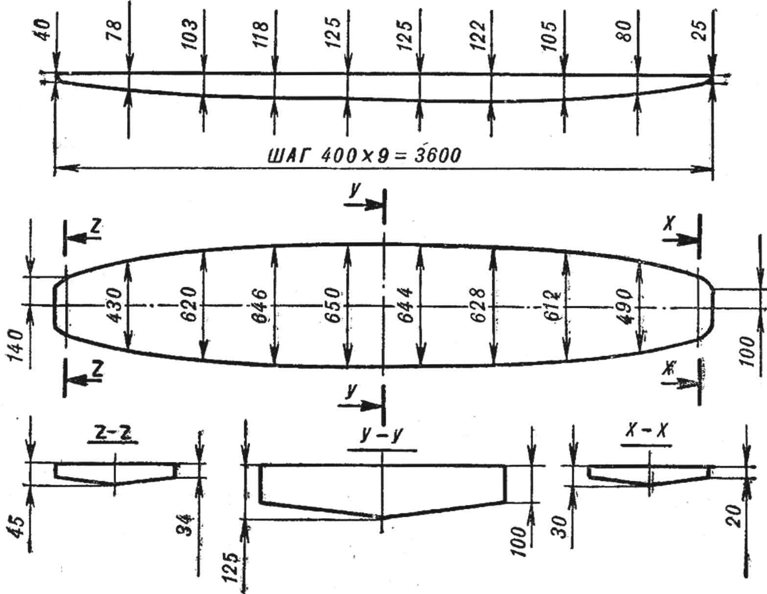 Рис. 1. Теоретический чертеж доски-корпуса