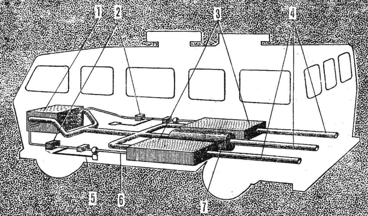 Рис. 2. Схема автомобиля с водородным двигателем