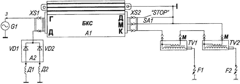 Рис. 2. Принципиальная электрическая схема одноканальной системы электронного зажигания для мотоцикла «ИЖ-ЮПИТЕР»