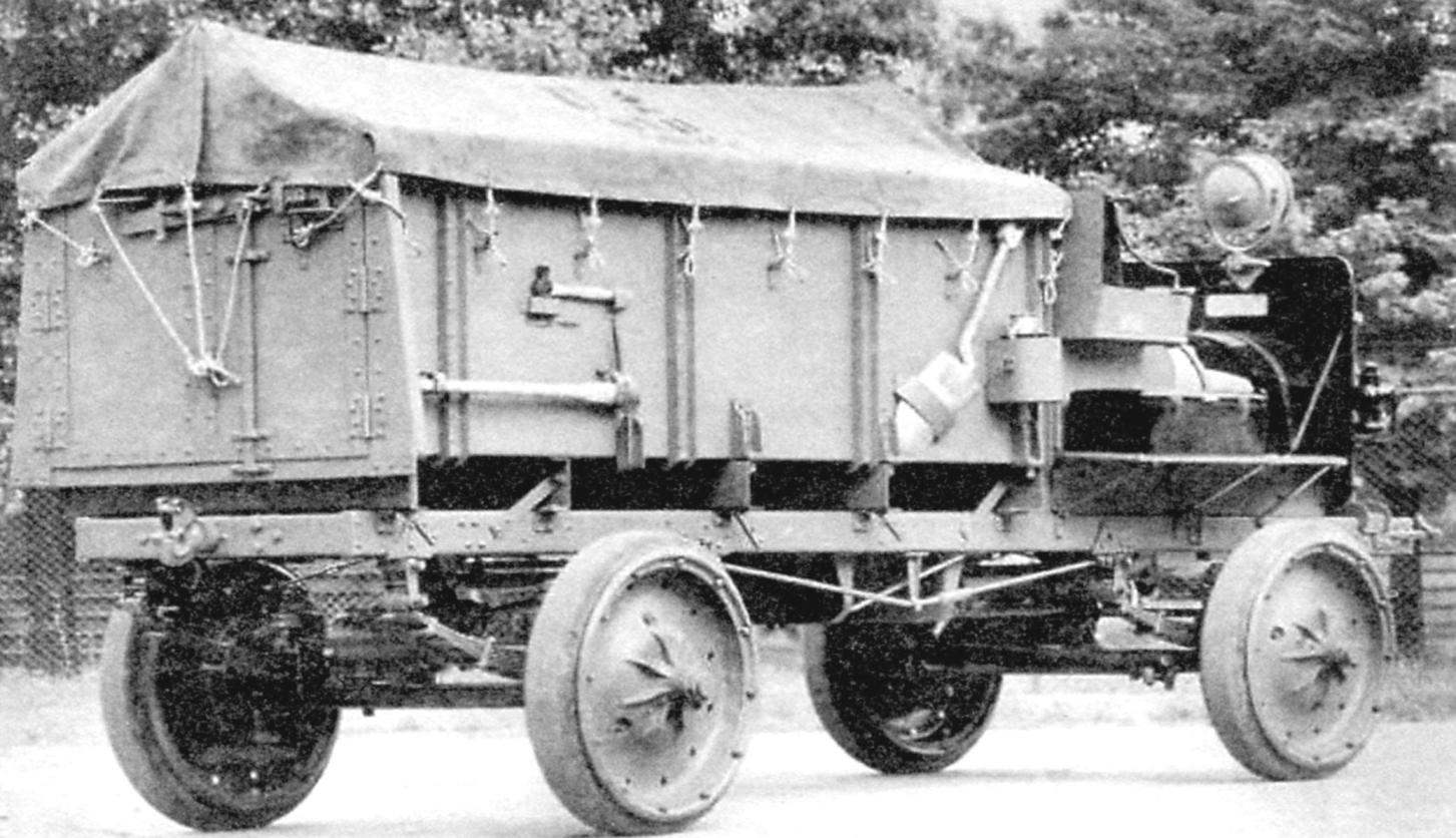 Four-wheel drive army truck Jeffery Quad, which served as the basic model for armored cars