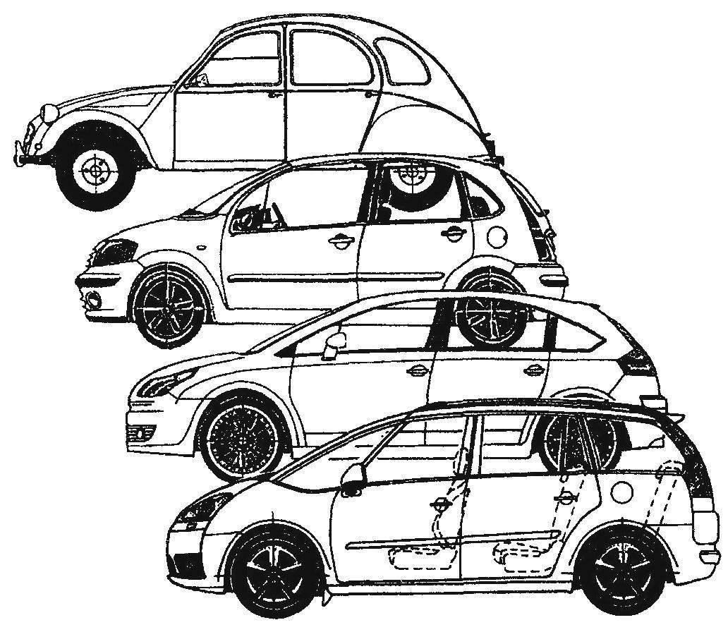 Преемственность фирменного стиля при создании автомобилей Citroen. Сверху вниз: Citroen 2CV выпуска 1948 года; Citroen СЗ выпуска 2002 года; Citroen С4 выпуска 2005 года; Citroen С4 Picasso выпуска 2006 года