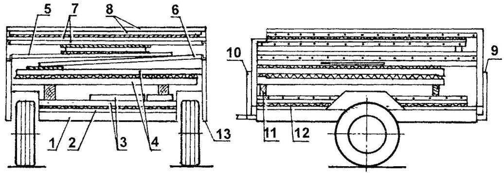 Схема укладки элементов в прицепе для транспортировки или хранения