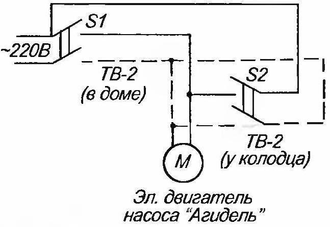 Электрическая схема подключения насоса «Агидель» (пунктиром показана цепь подключения у колодца)