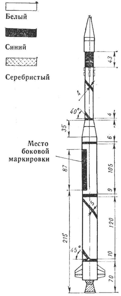Схема раскраски модели ракеты.