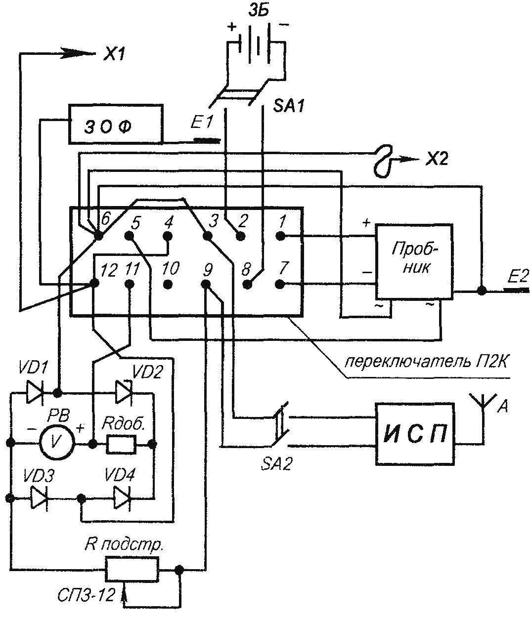 Принципиальная электрическая блок-схема комплексною контрольно-измерительного прибора электрических сетей