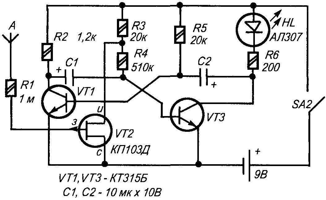 Принципиальная электрическая схема искателя скрытой проводки ИСП