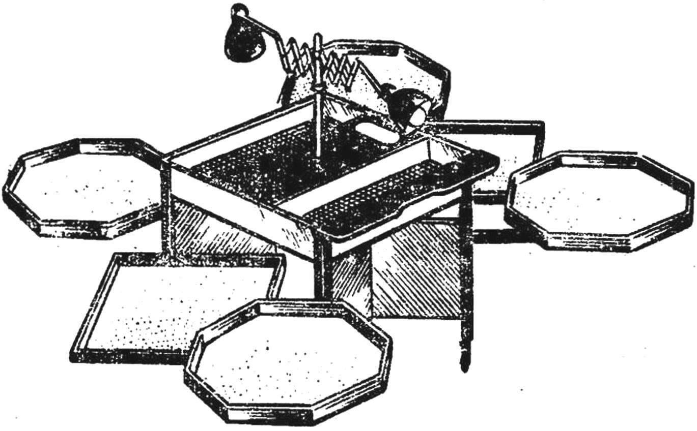 Рис. 5. Стол для сортировки и подсчета цыплят.