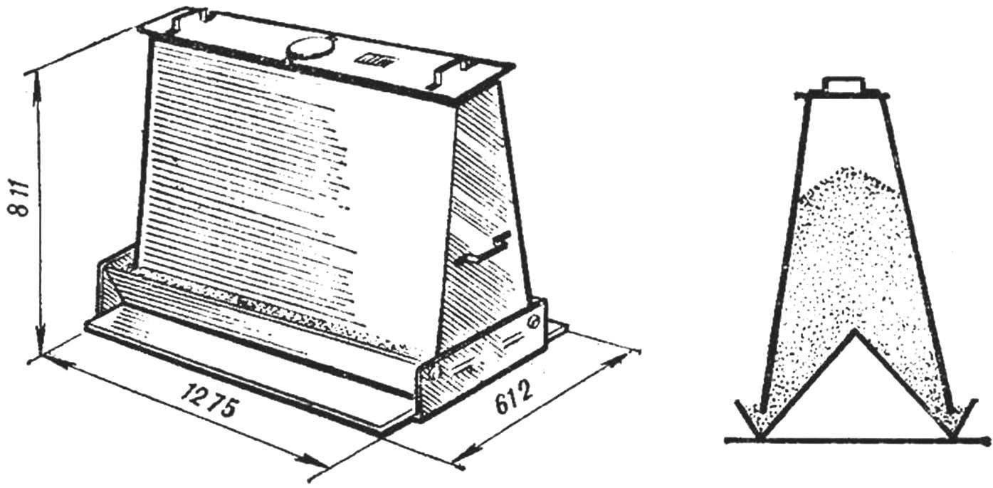 Рис. 7. Самокормушка для птицы и ее схема.