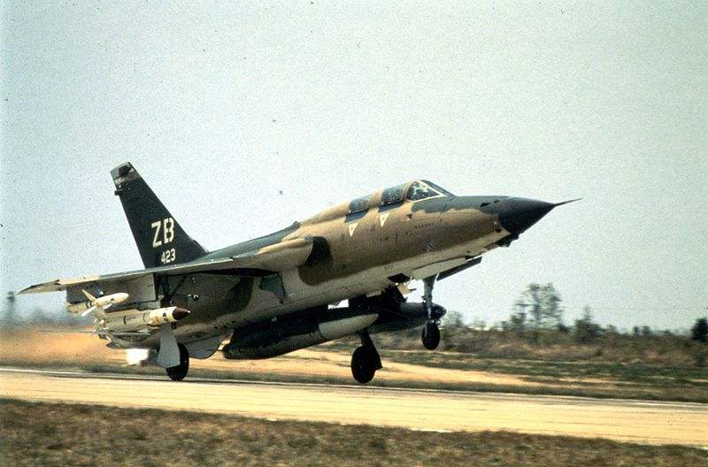 The plane takes off, the F-105G Wild Weasel