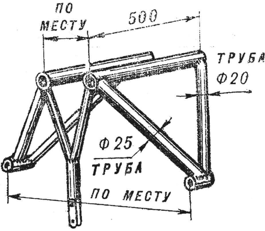 Рис. 4. Конструкция и основные размеры подмоторной рамы.