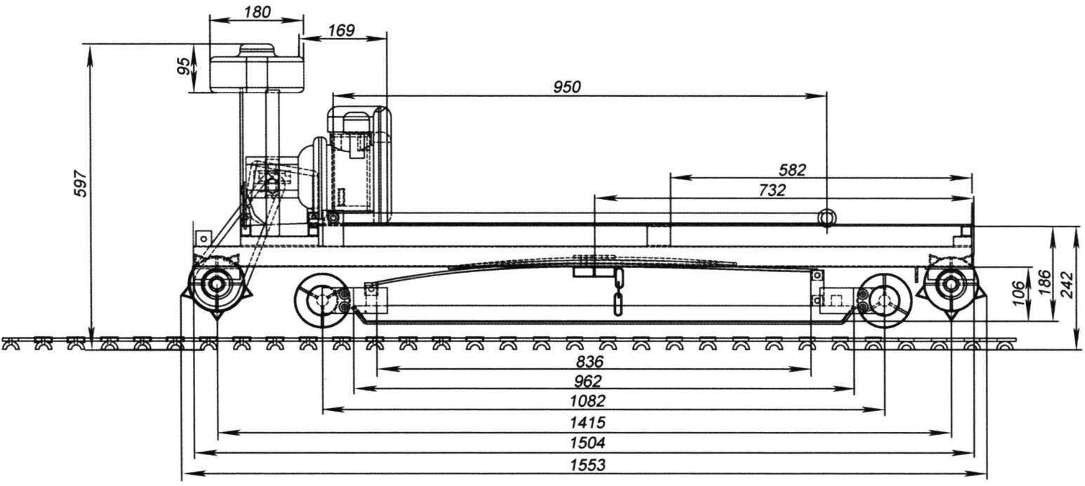 Общий вид и основные размеры гусеничного сноуборда с мотором «Фердинанд»