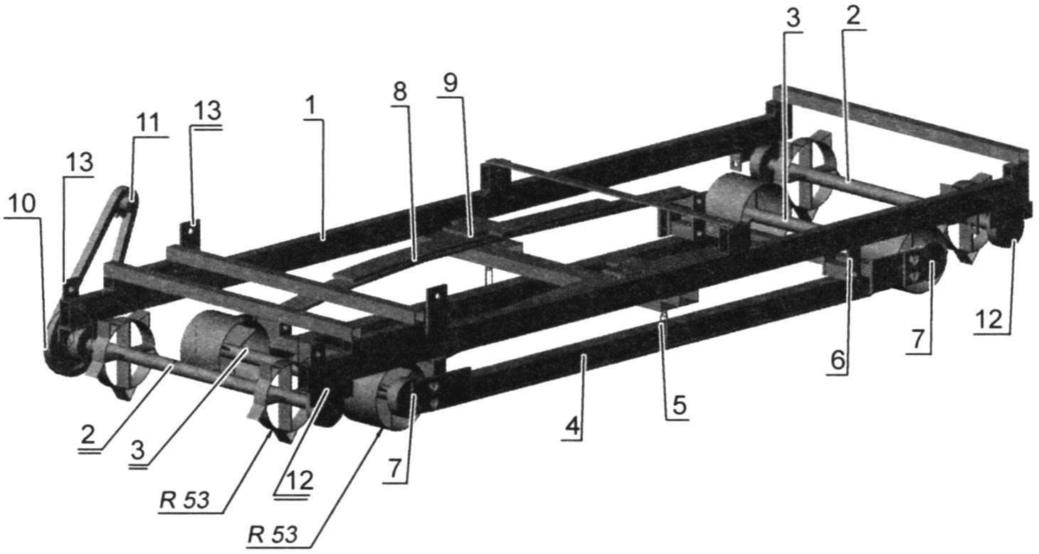 Рама с подвеской (а - вид сверху; б - вид снизу)
