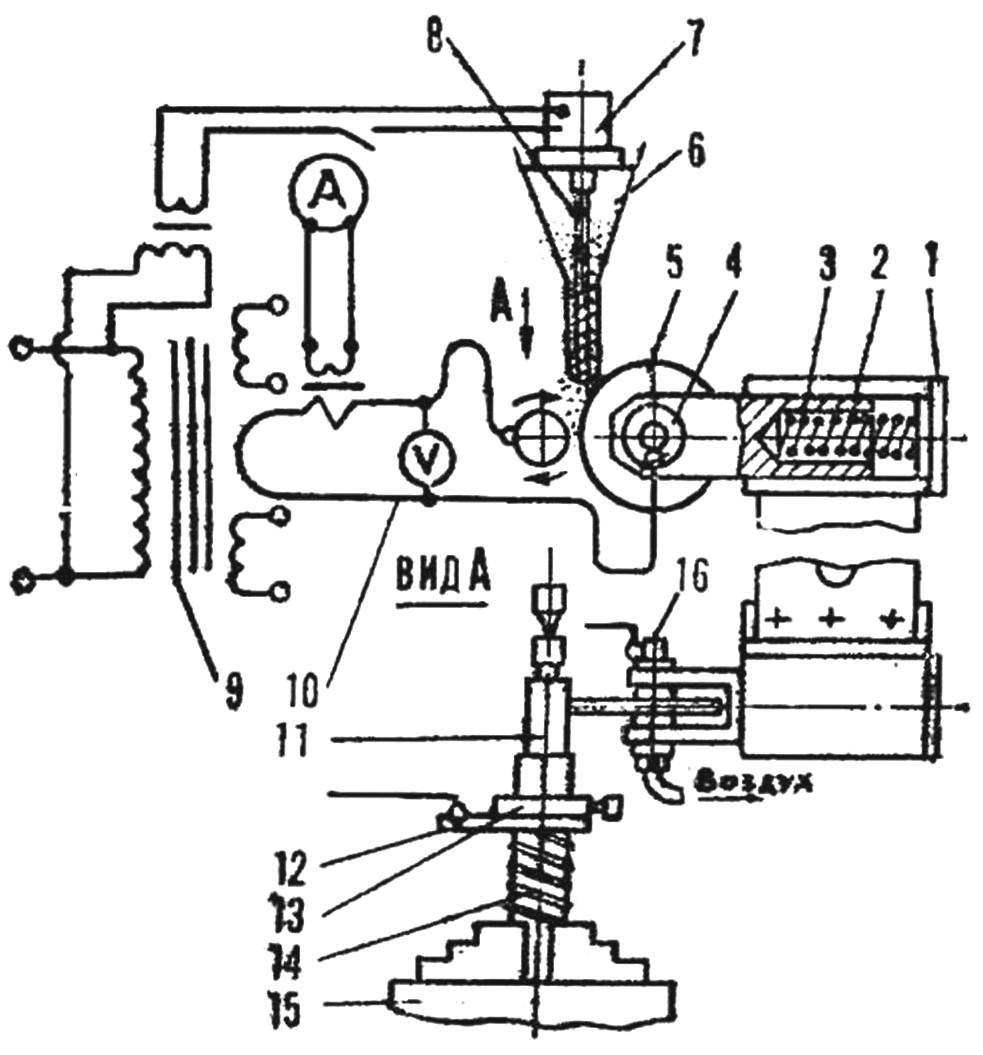 Схема установки для наплавки