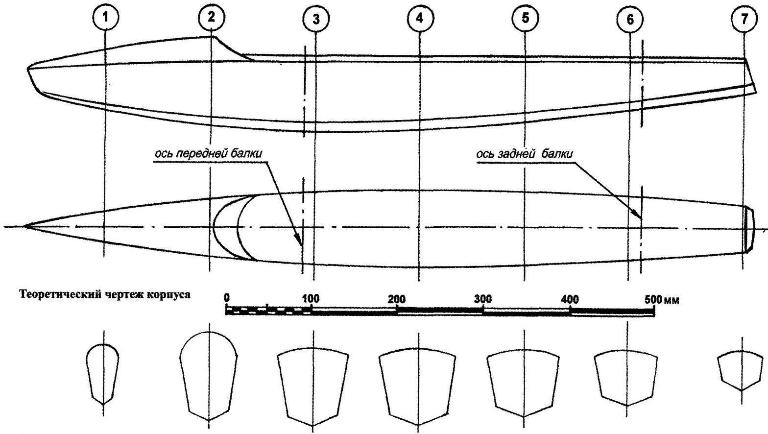 The theoretical drawing of the hull