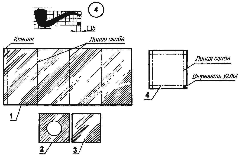 Схема раскроя деталей жестяного корпуса табакерки (размеры — по месту)