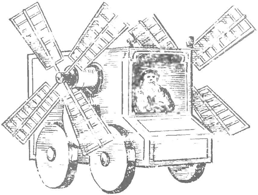 Рис. 1. Повозка с мельничными крыльями, 1472 г.