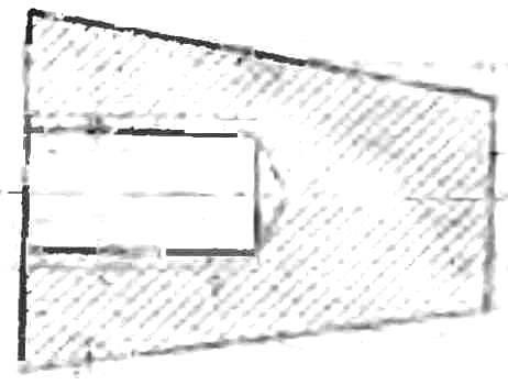 Рис. 1. Схема переходного конуса (резьбовая часть — под вал двигателя, конусная — под патрон дрели).