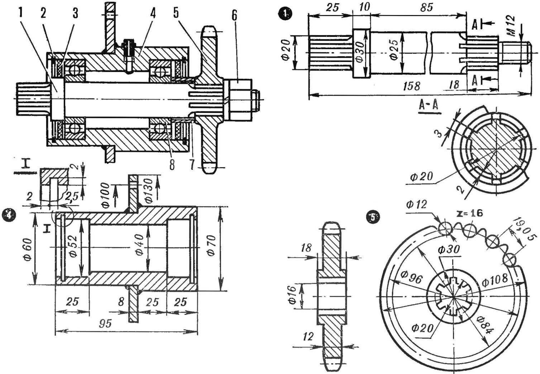 Рис. 6. Конструкция ведущего вала микротрактора «САП»