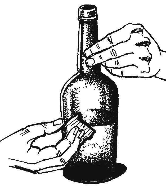 Смачивание линии реза нагретой бутылки