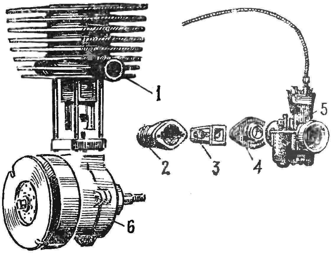 Fig. 3. The scheme of division of the flap the suction valve on the engine AG-1