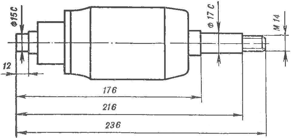 Рис. 2. Модернизированный вал стартера.