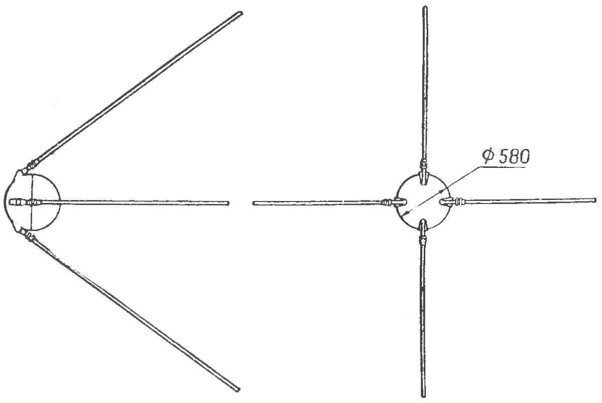 Рис. 2. Первый искусственный спутник Земли.