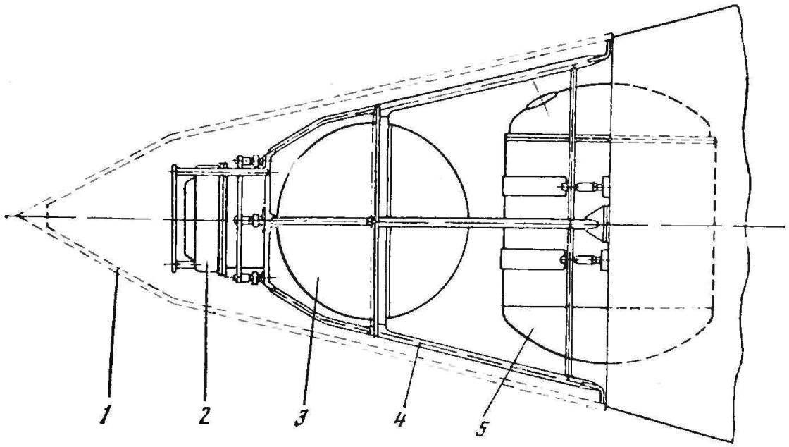 Рис. 3. Схема размещения аппаратуры на втором искусственном спутнике Земли