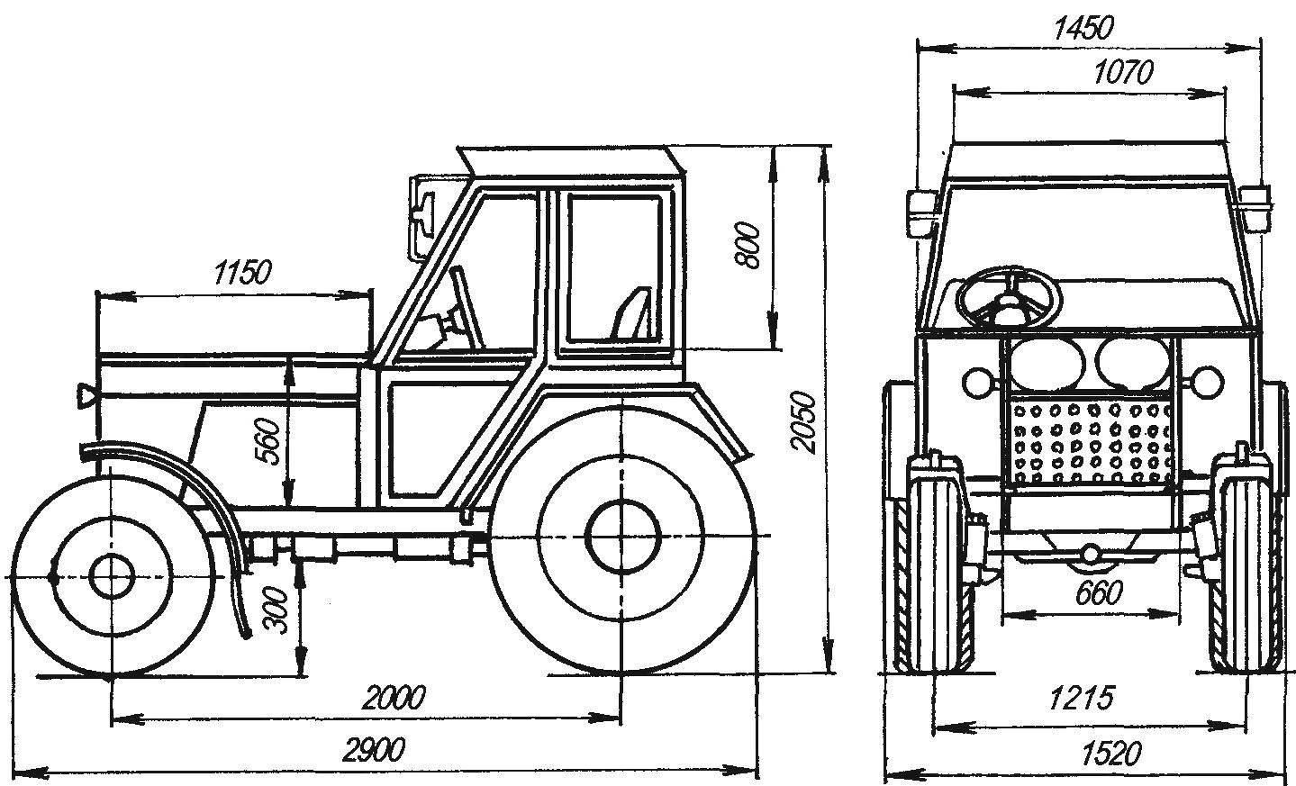 Рис. 1. Геометрическая схема трактора