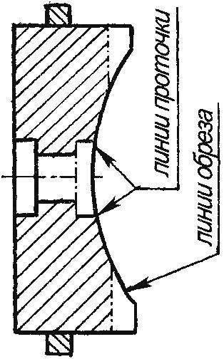 Рис. 7. Доработка маховика двигателя: заштрихованные части — обточить