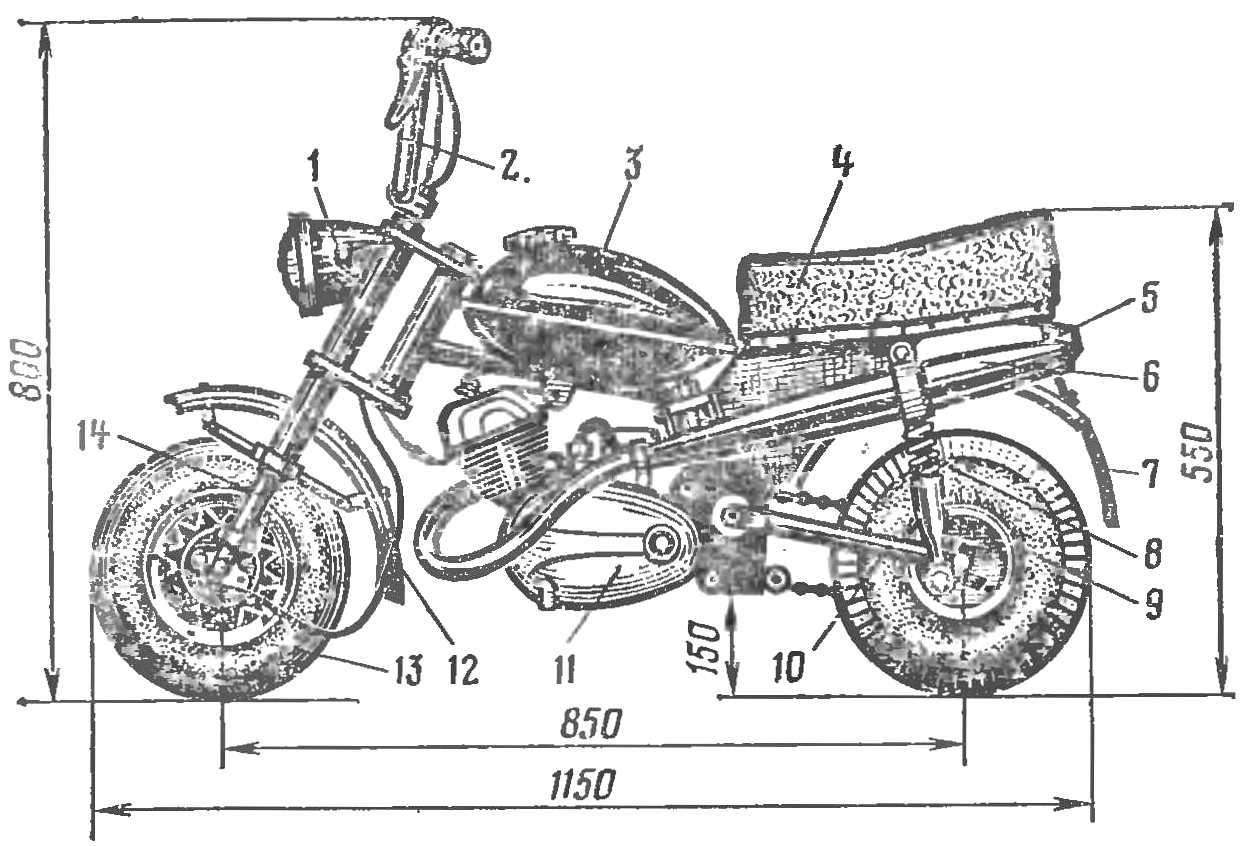 Рис. 1. Компоновка микромотоцикла А. Стригалева