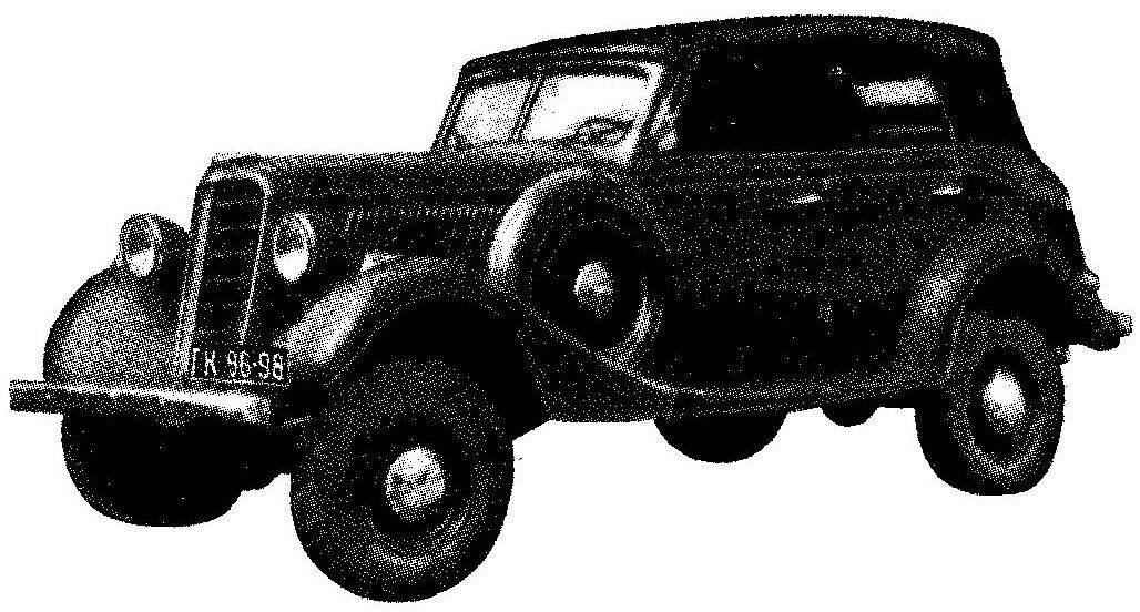 Полноприводной автомобиль ГАЗ-61-40 выпуска 1941 года с 6-цилнндровым двигателем мощностью 76 л.с. с кузовом «фаэтон»