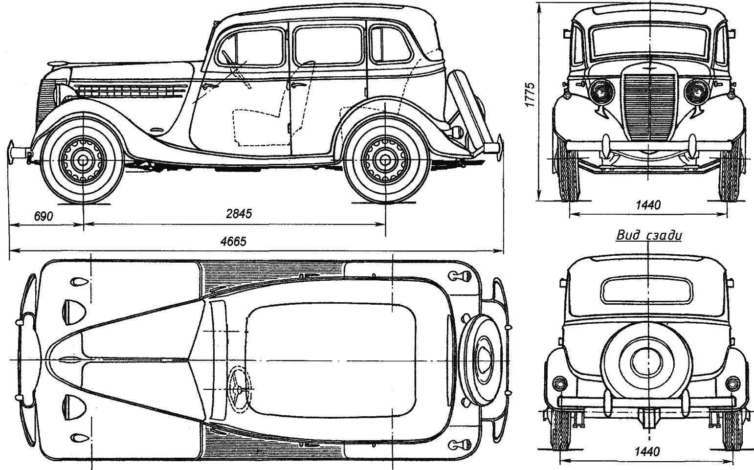 geometry of the car GAZ-11-73