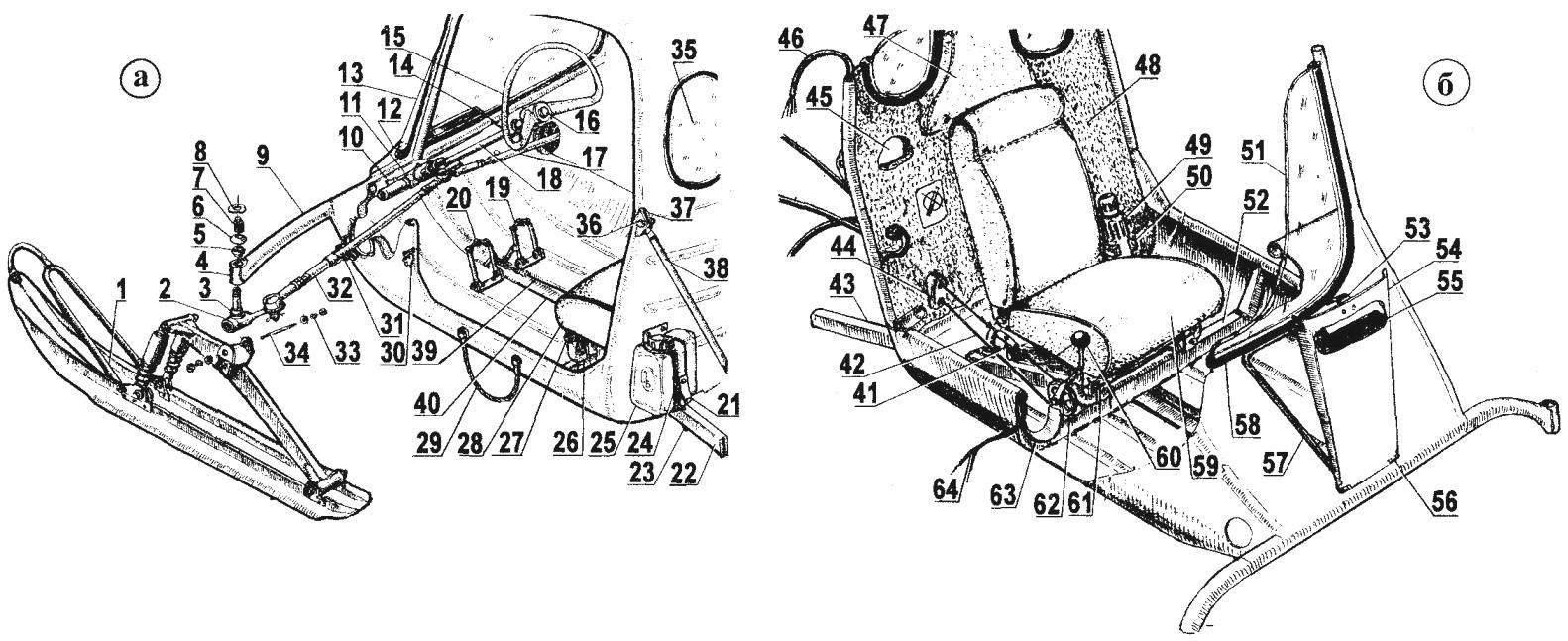Компоновка кабины (а — передняя часть; б — задняя часть)