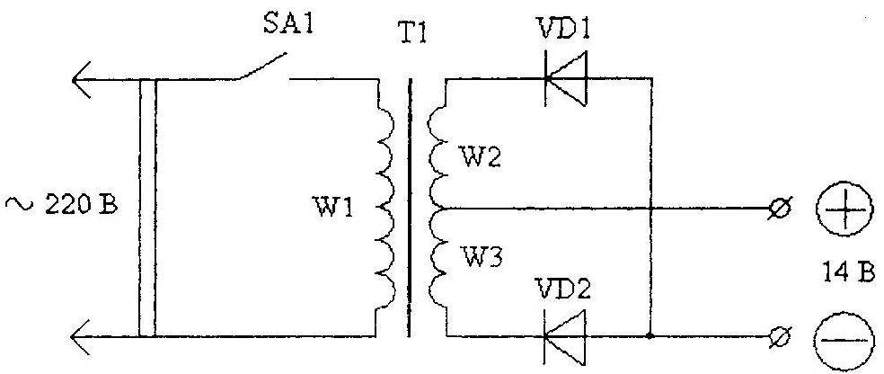 Fig. 3. A circuit diagram of a starting device with a single-phase transformer