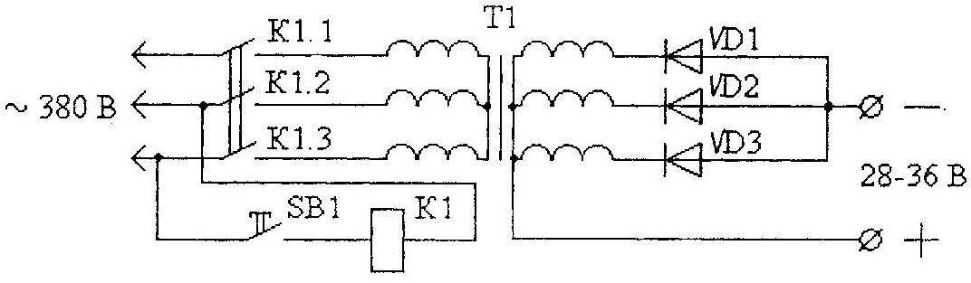 Рис. 4. Принципиальная электрическая схема пускового устройства с трехфазным трансформатором