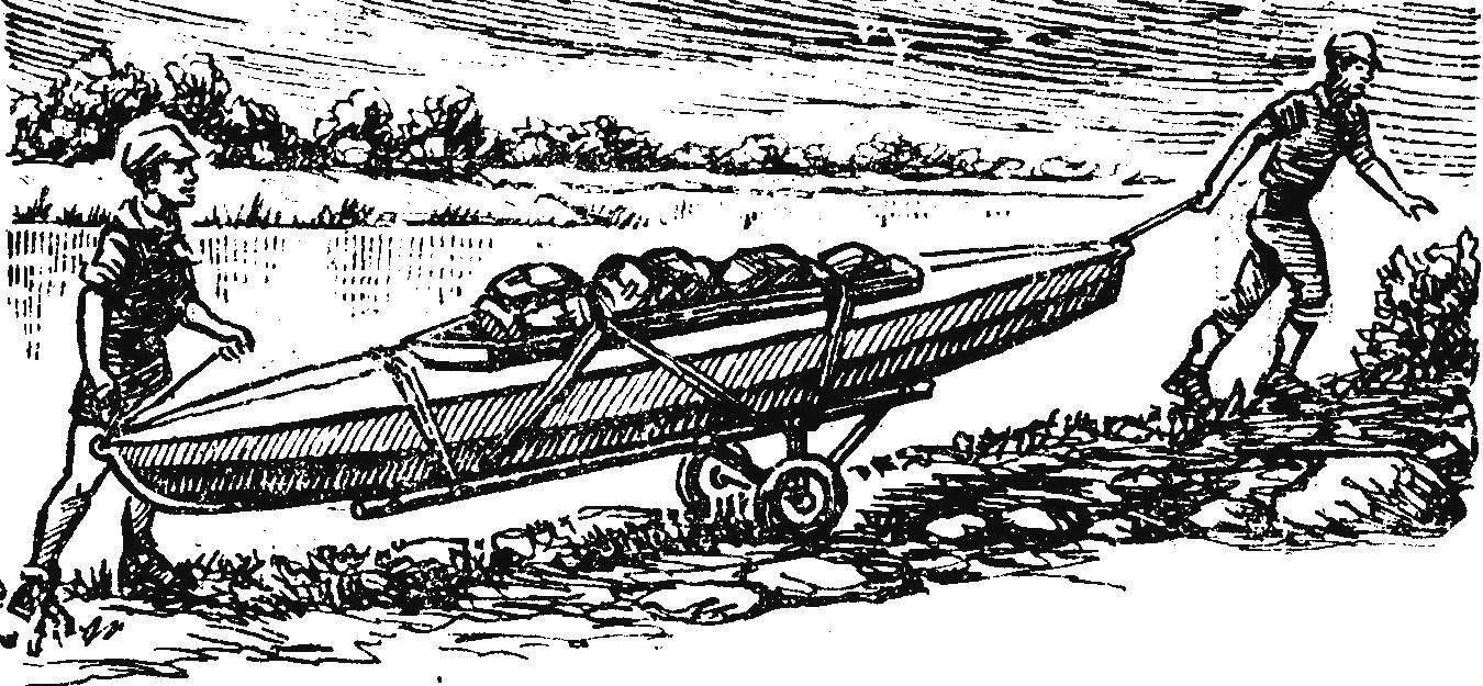 Рис. 3. Транспортировка неразобранной байдарки с притороченным грузом.