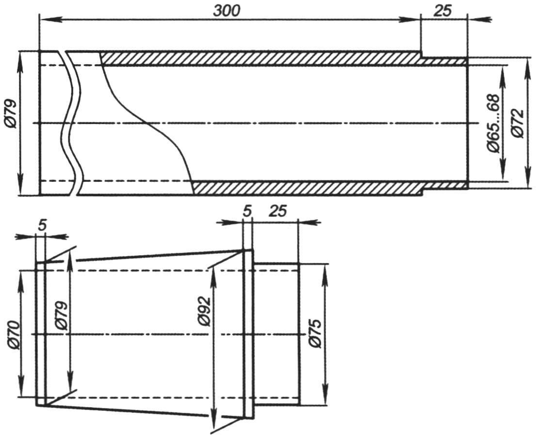 Рис. 3. Оправки для склейки элементов корпуса модели-копии ракеты Р-14 (М 1:30)