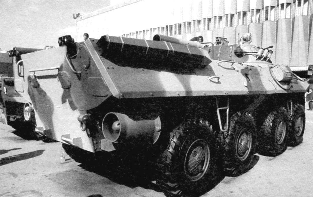 The BTR-90. The view from the stern. Right under the Board - one of the two water-jet propulsion with three blade propeller intended for the movement afloat. On top of the Board is a wing-float