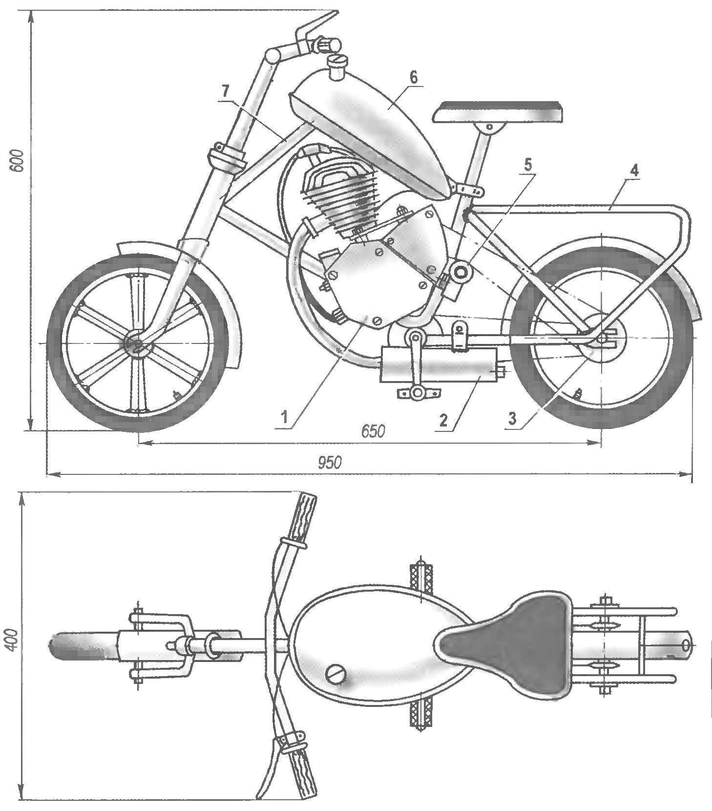 Рис. 1. Мини-мокик на базе детского велосипеда и двигателя Д-8