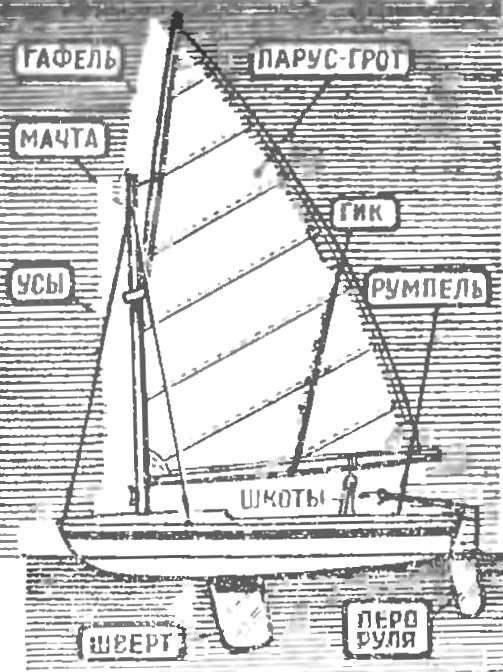 Рис. 2. Швертбот с парусным вооружением типа «кэт». Имеет один парус — грот, поднимаемый с помощью гафеля (так называемый «гуара»); рангоут состоит из мачты, гика и гафеля.
