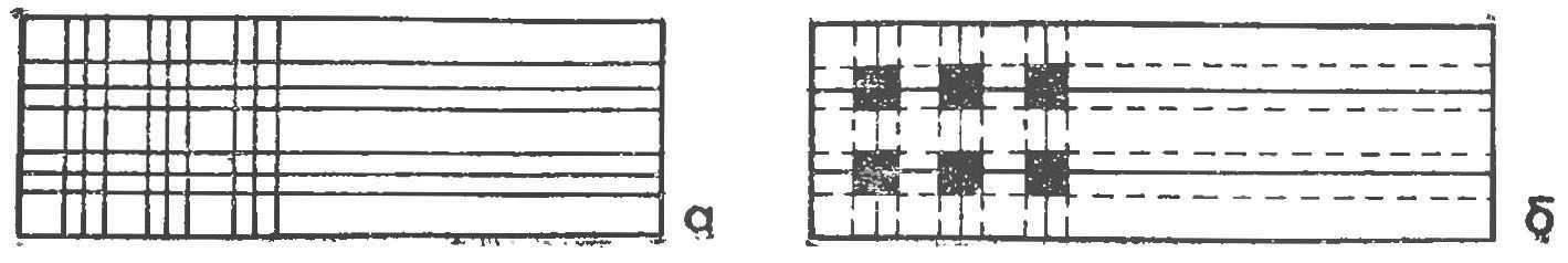 Рис. 5. Разметка заготовки для изготовления гусеничного движителя: а — схема разметки, б — «вырез»