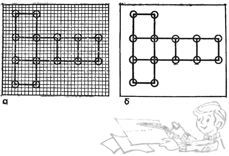 Рис. 6. Построение развертки куба: а — на миллиметровке, б — на ватмане
