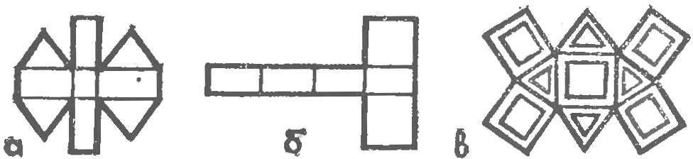 Рис. 8. Развертки серии многогранников, предназначенных для выклеивания прожекторной установки